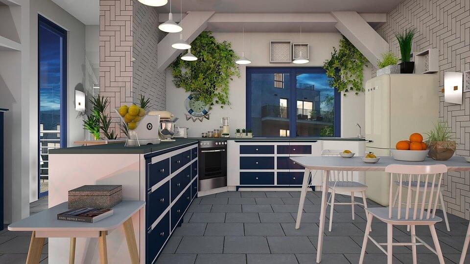 Серая плитка на полу в белом дизайне кухни