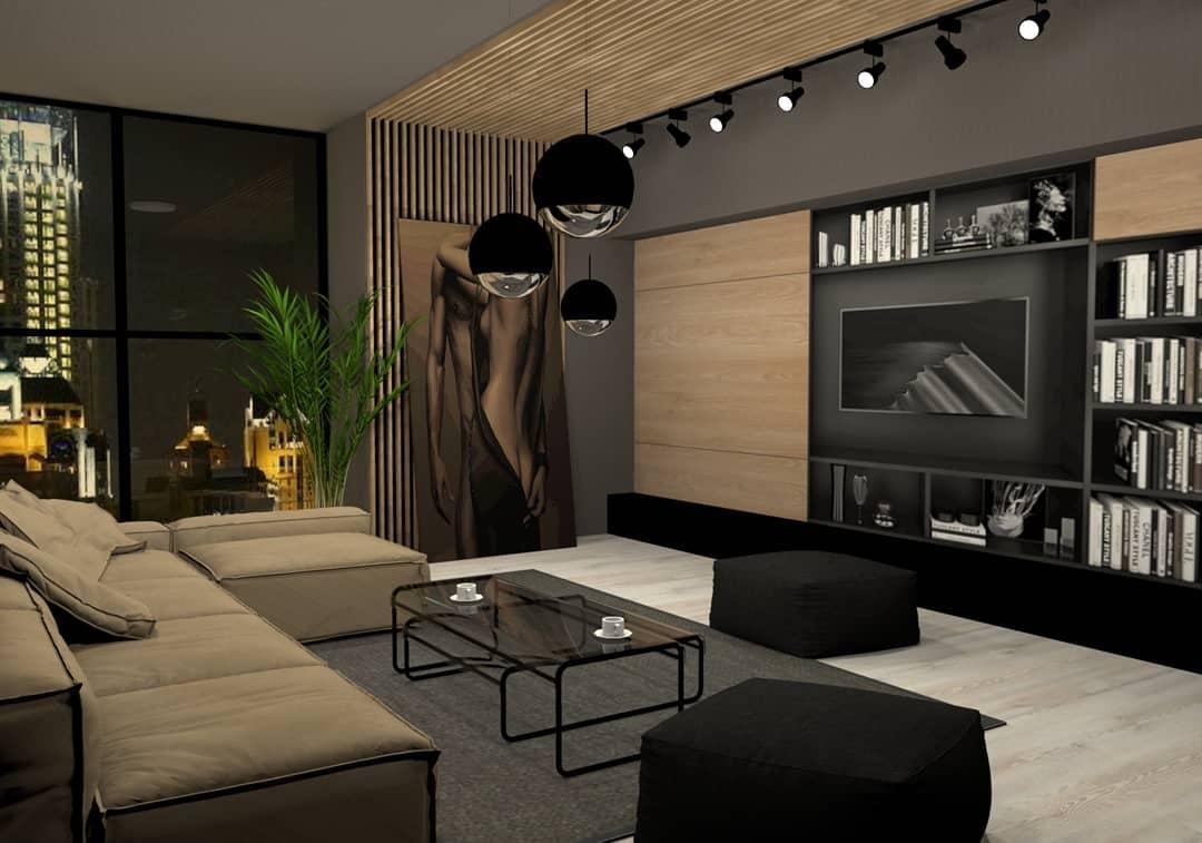 Черно-коричневый интерьер в стиле хай-тек