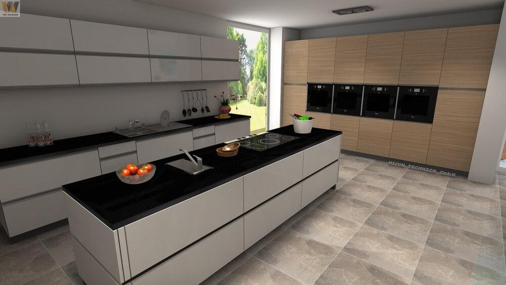 Современная кухня в бело-бежево-черных тонах