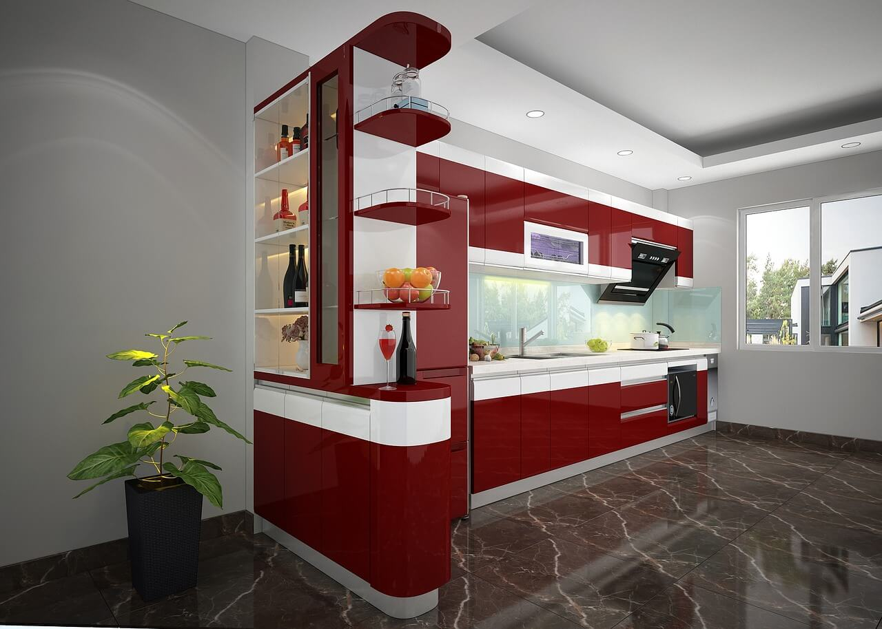 Красно-белая кухня с черным мраморным полом