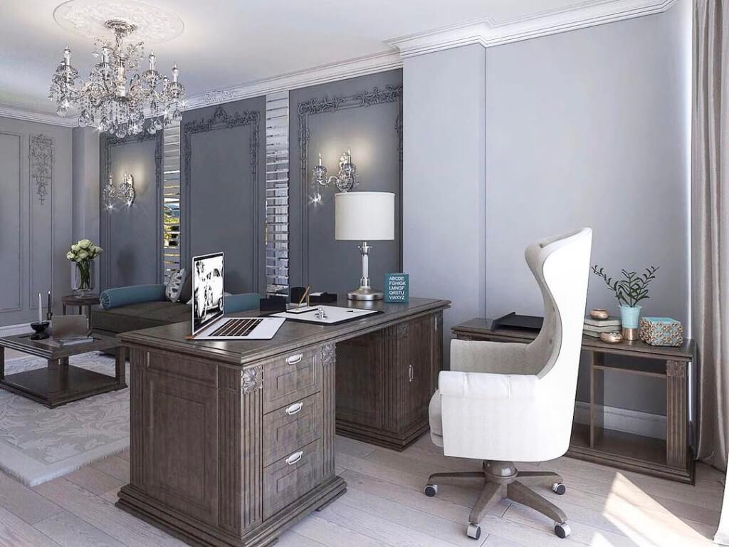 Роскошный классический кабинет в серых тонах