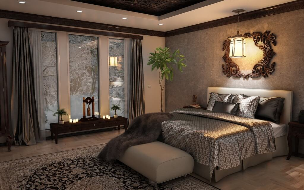 Роскошная классическая спальня в кофейных тонах