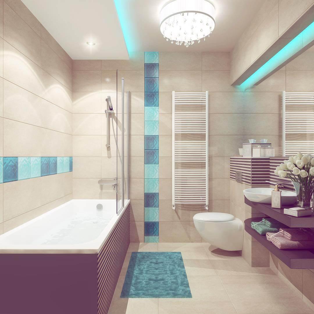 бирюзово-бежевая ванная комната
