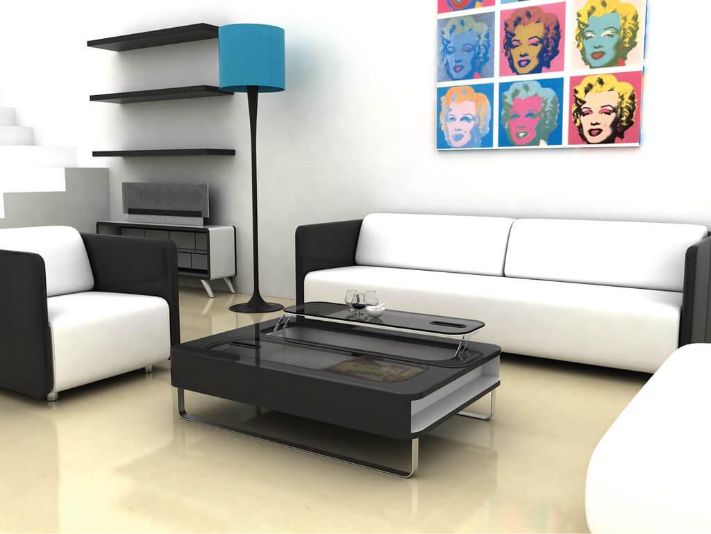 Геометричгая однотонная мебель в стиле хай-тек