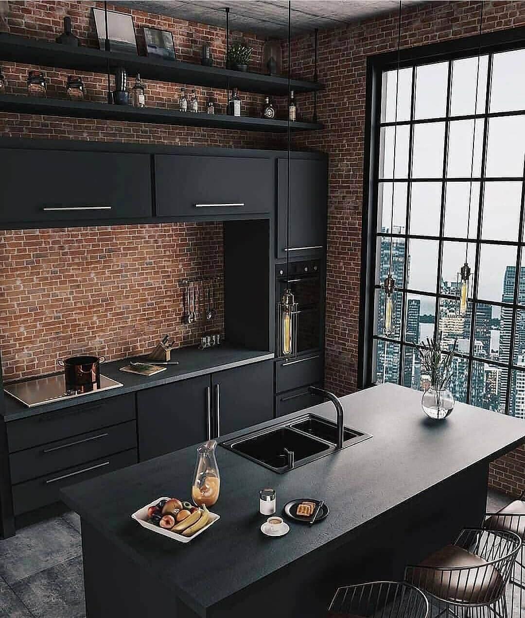 Черная кухня в стиле лофт