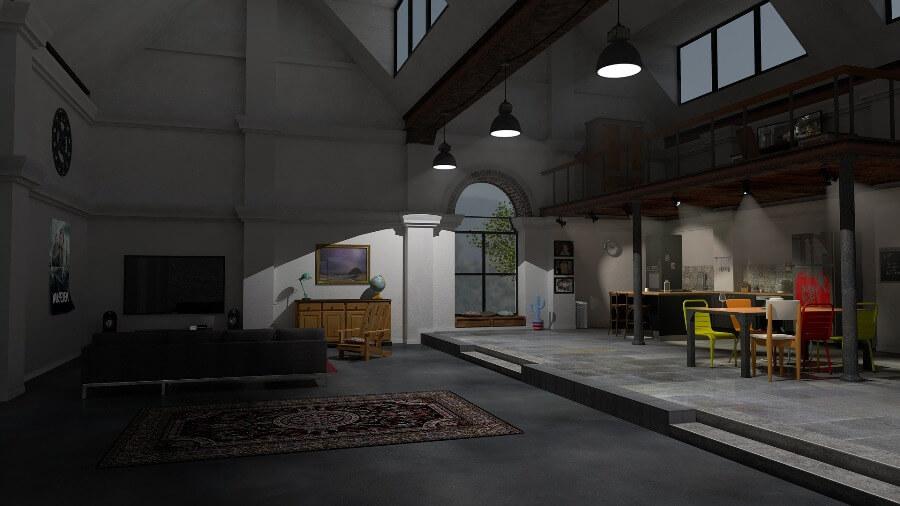 Просторный дом в стиле лофт