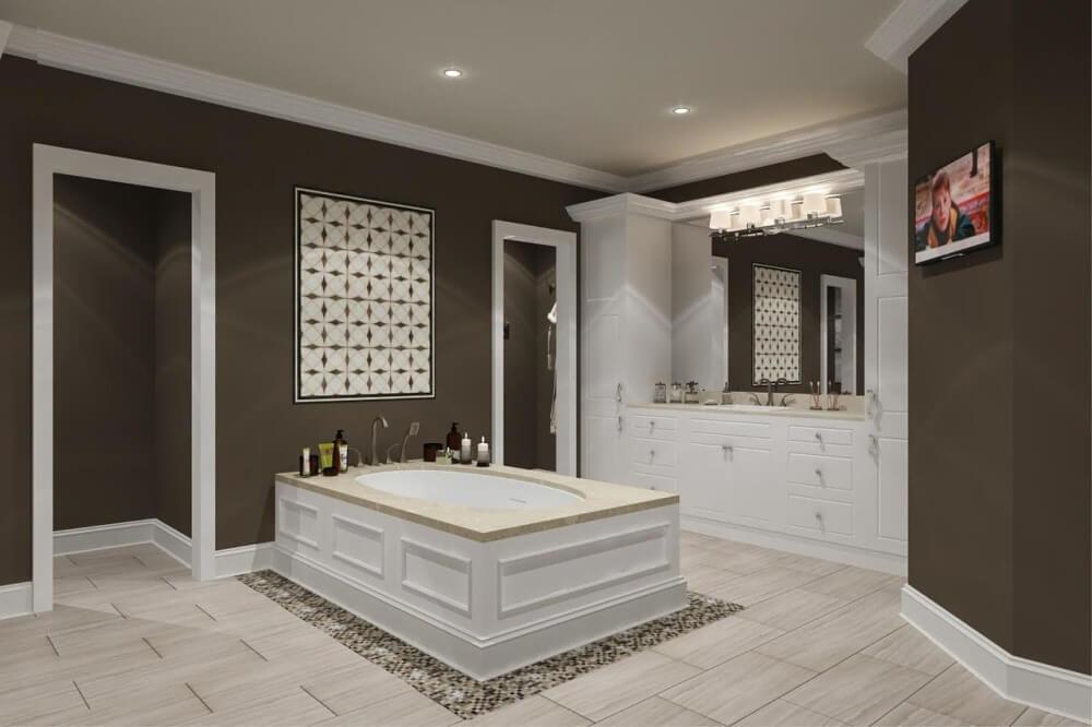 Бело-коричневая ванная в стиле модерн