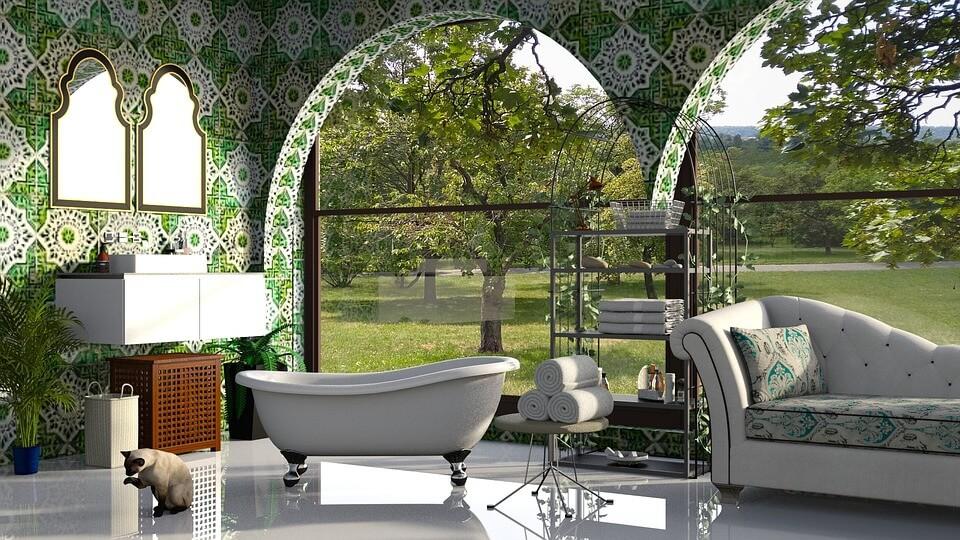 бело-зеленая ванная в восточном стиле