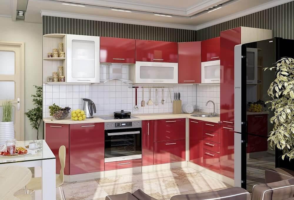 красно-черная кухня с белым фартуком