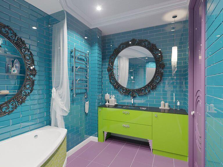 стиль арт-деко в бирюзовой ванной