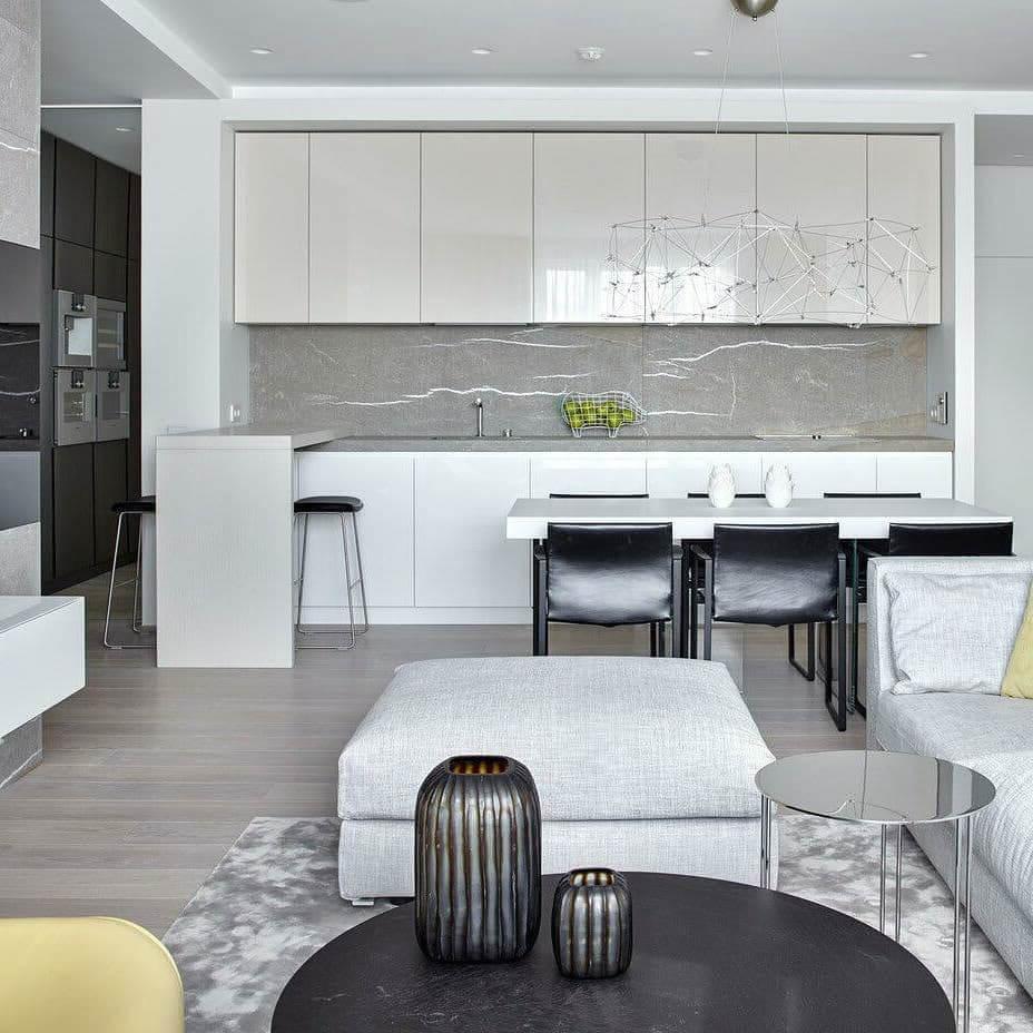 белая кухня с черной мебелью
