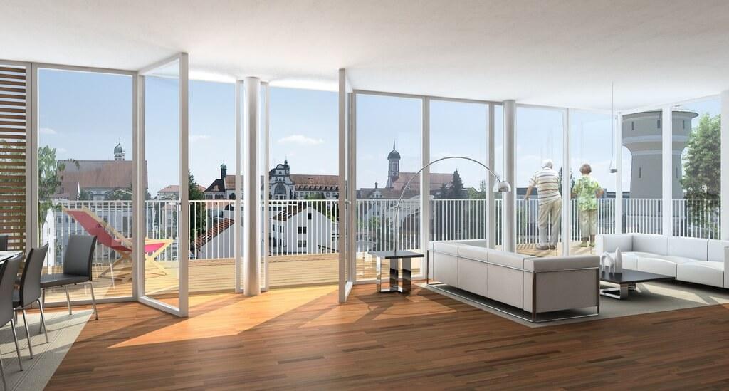 Панорамные окна в минималистической квартире-студии