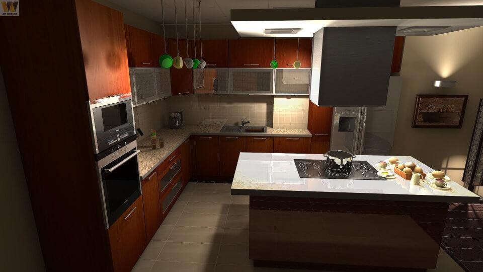 серая кухня с коричневыми фасадами
