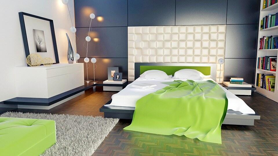 Яркий текстиль и аксессуары в помещении в стиле хай-тек