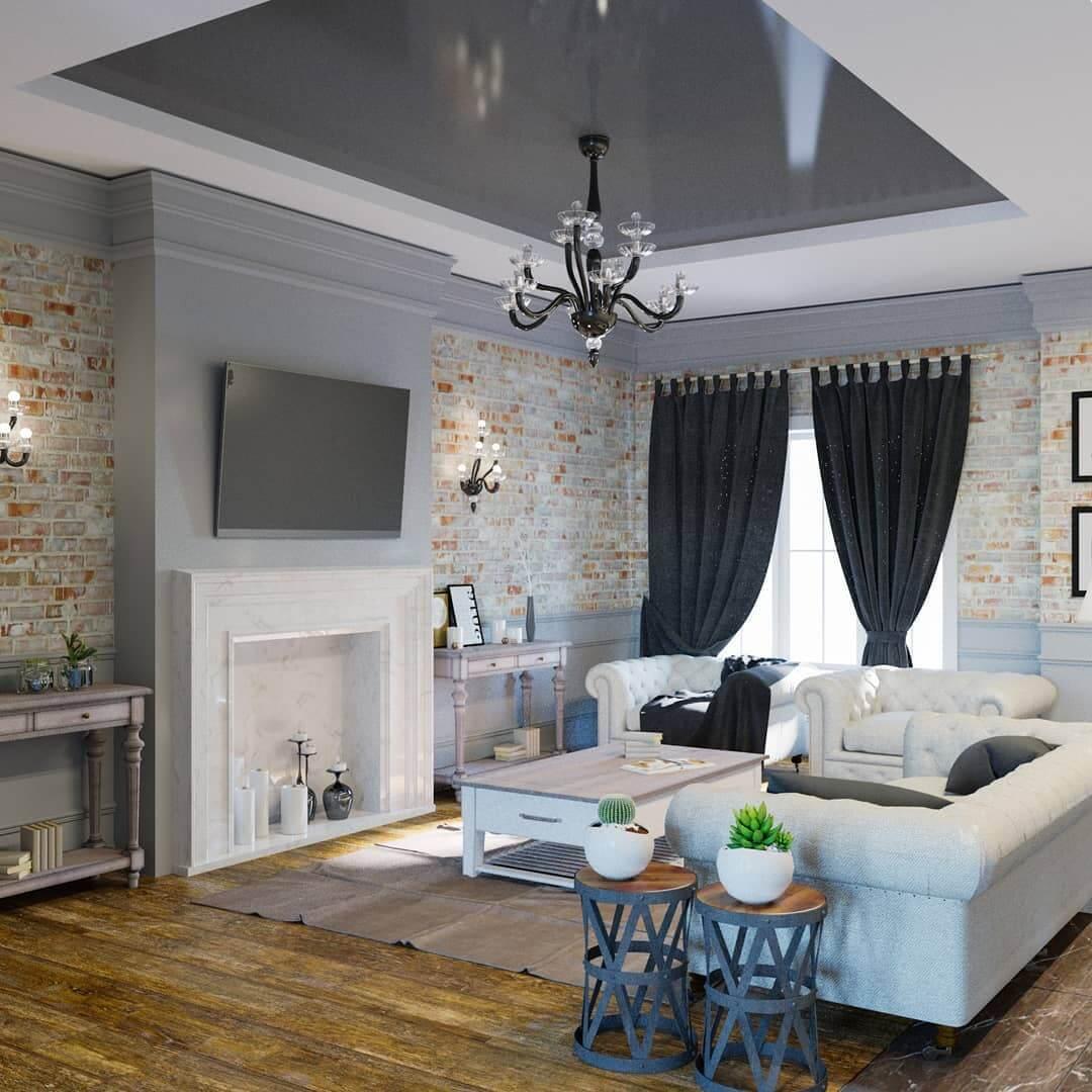 Глянцевый потолок в современном дизайне гостиной