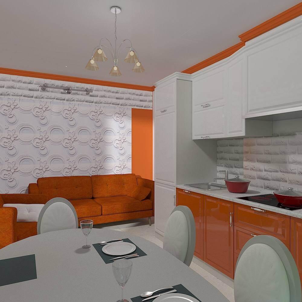Обои и текстиль для кухни в оранжевом цвете