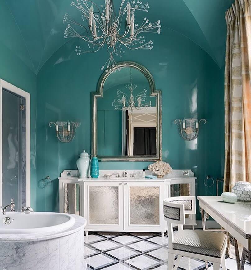 шикарная бирюзовая ванная комната