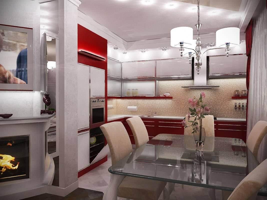 Белая кухня с красным фартуком