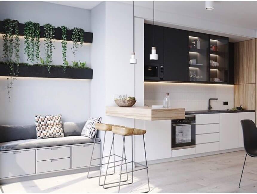 Кухня-гостиная в стиле лофт в бело-черном исполнении