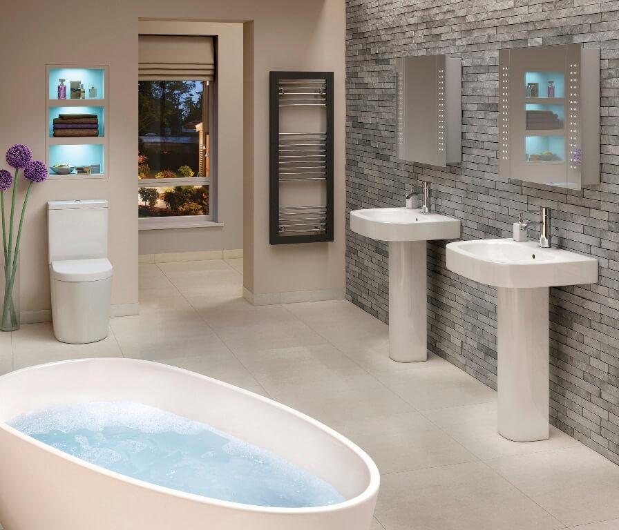 Оригинальный дизайн серой ванной комнаты