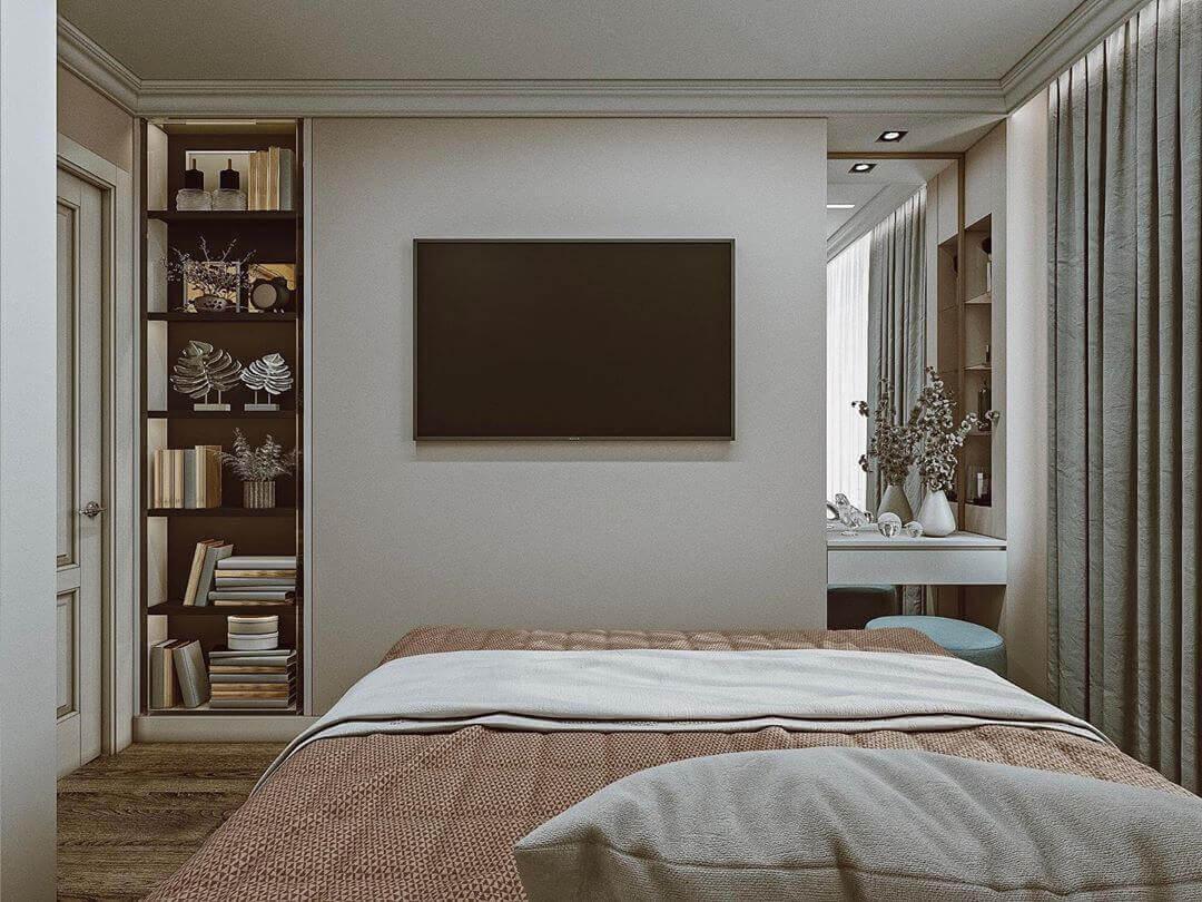 телевизор в маленькой спальне