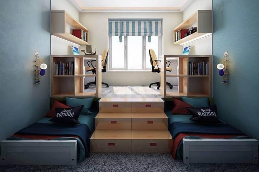 детская комната со столами для двоих детей
