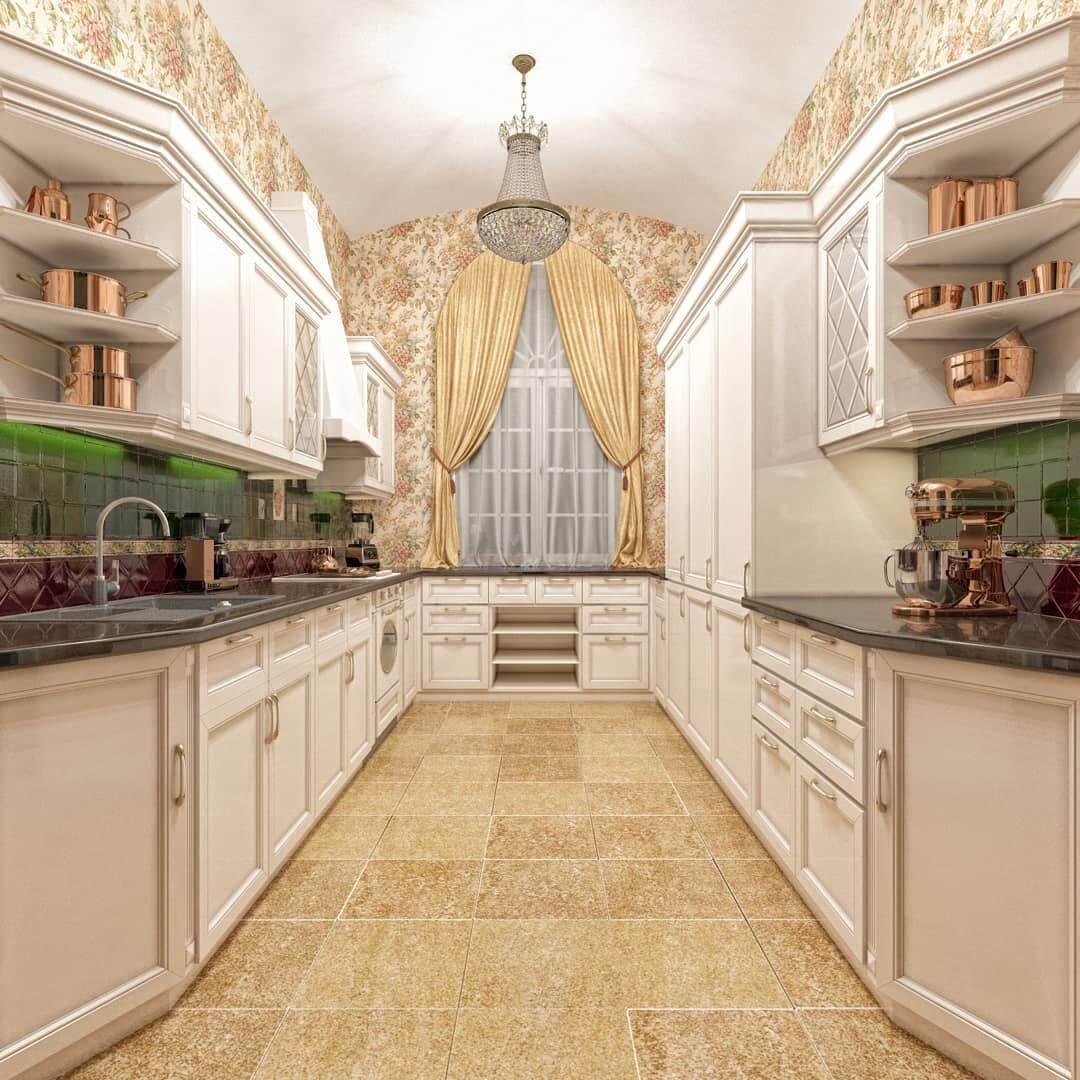 Роскошный классический интерьер кухни