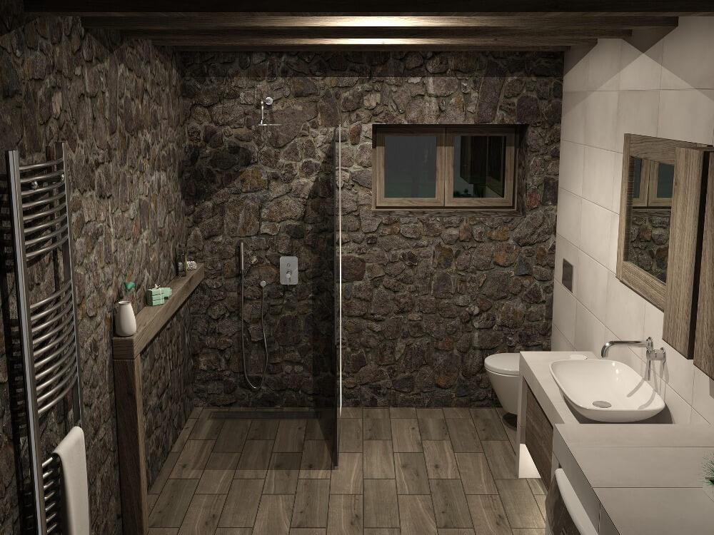 Каменная кладка в дизайне ванной