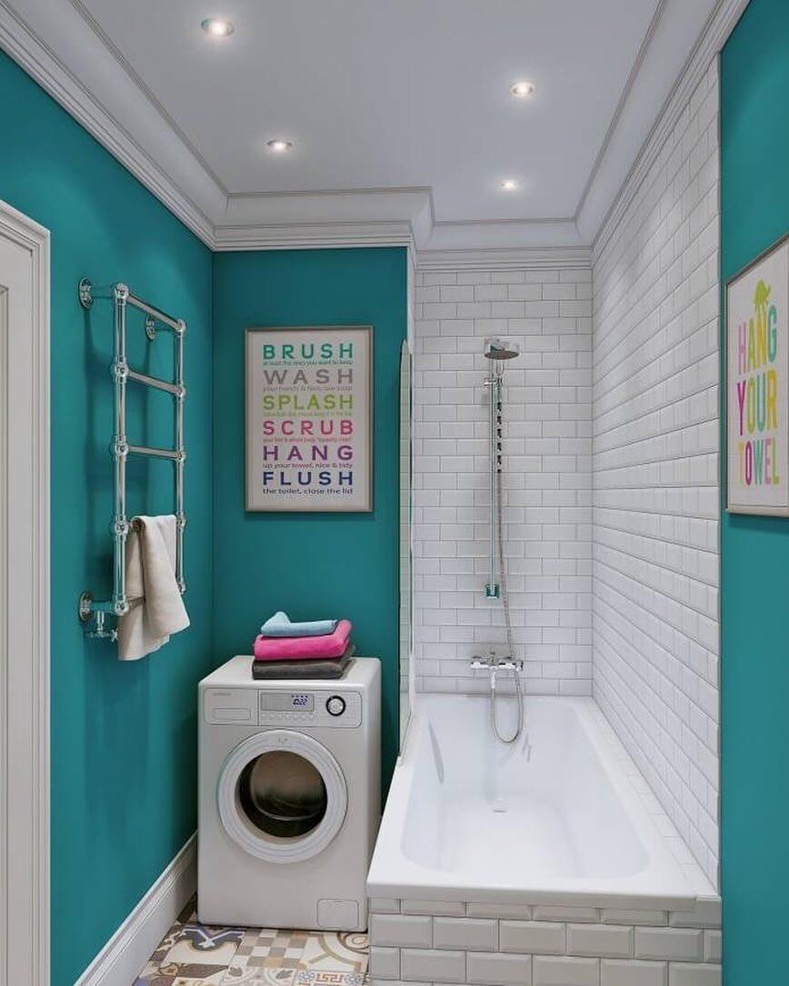 Бирюзовый и белый цвет в ванной комнате