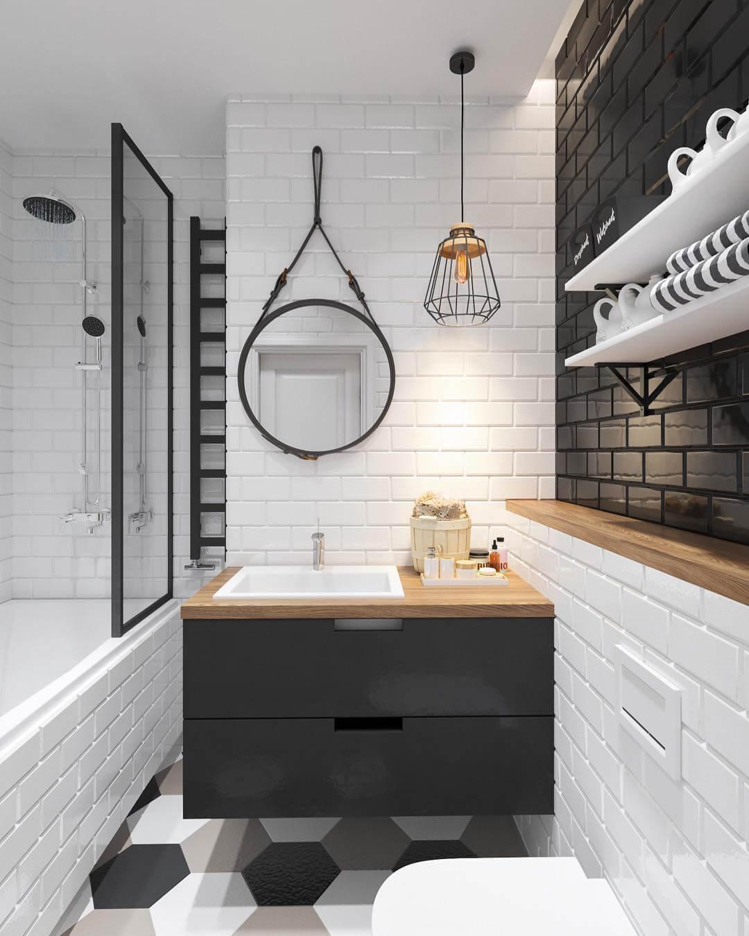 Дизайн черно-белой ванной комнаты с акцентной стеной