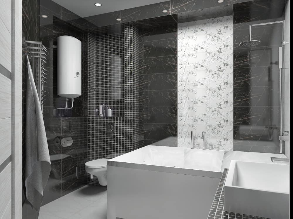 Черно-белая минималистическая ванная