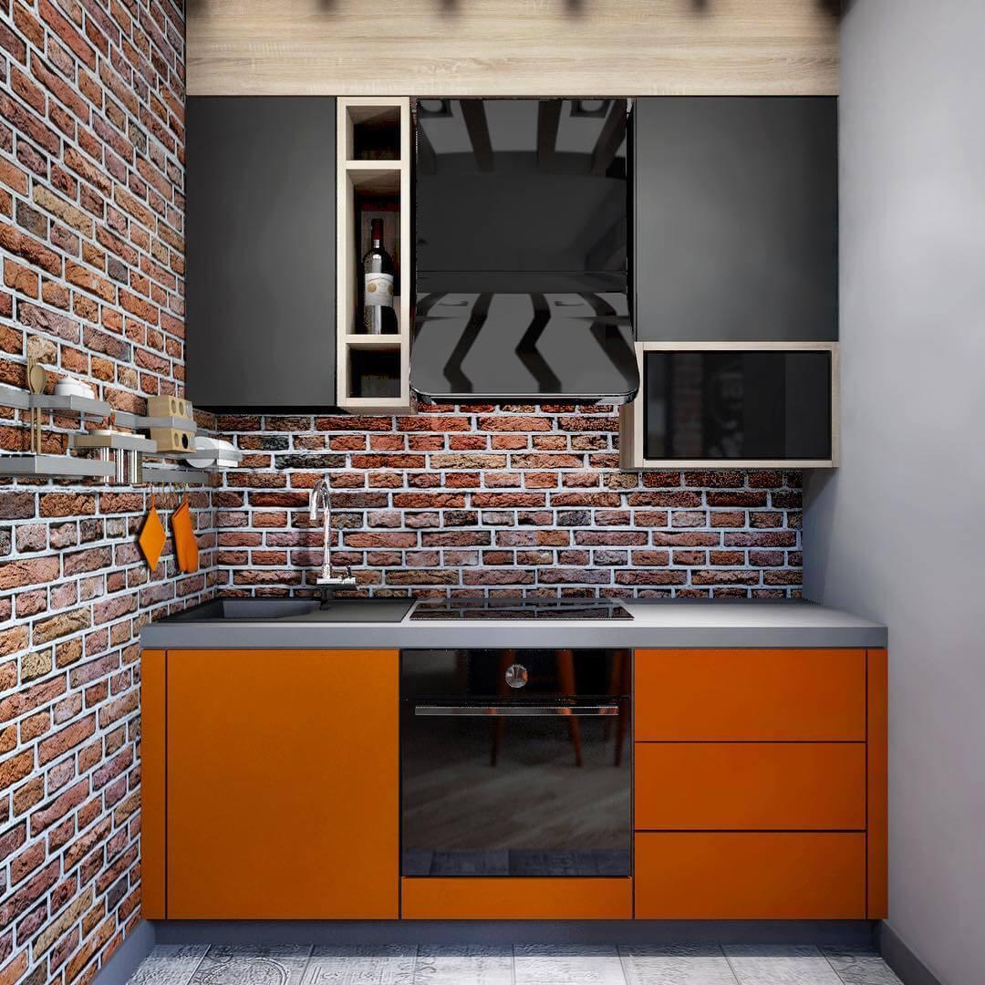 """Интерьер оранжевой кухни с обоями в стиле """"лофт"""""""