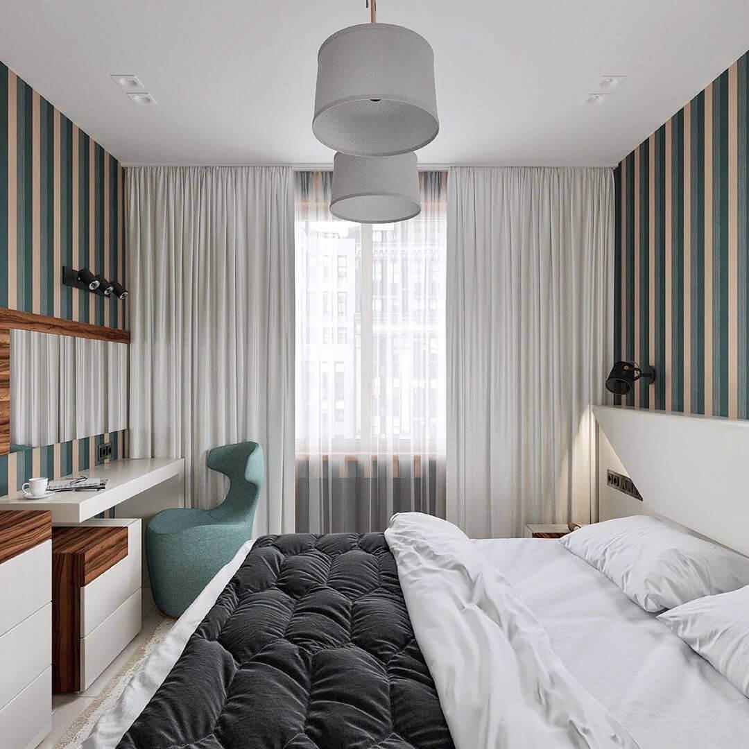 вертикальные полосы в маленькой спальне