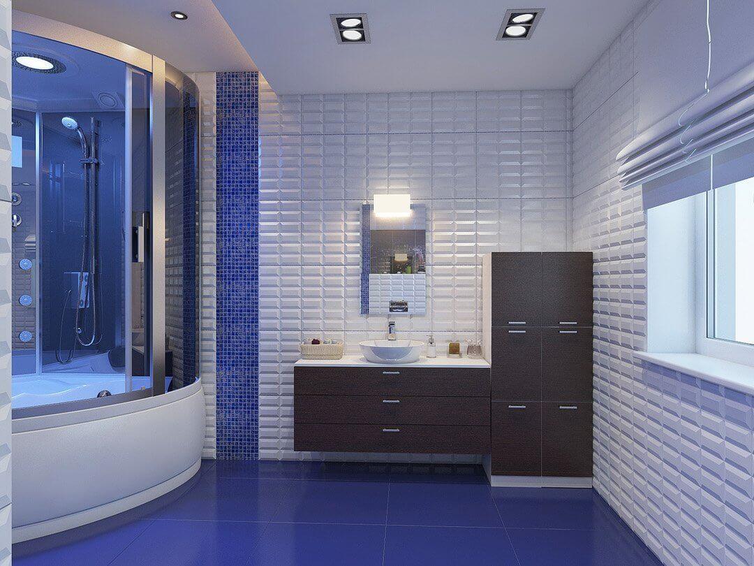 Интерьер сине-белой ванной комнаты