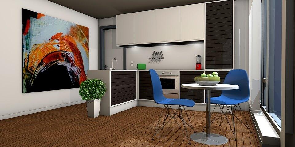 кухня с яркой мебелью и картиной