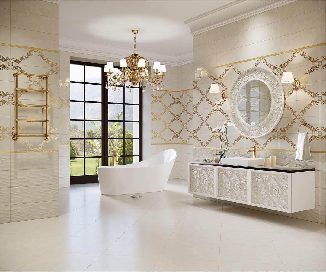 Плиточная отделка в ванной в стиле ампир