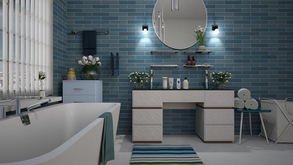 дизайн бирюзовой ванной комнаты