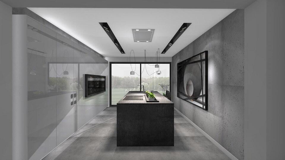Отделка кухни под камень в стиле минимализм