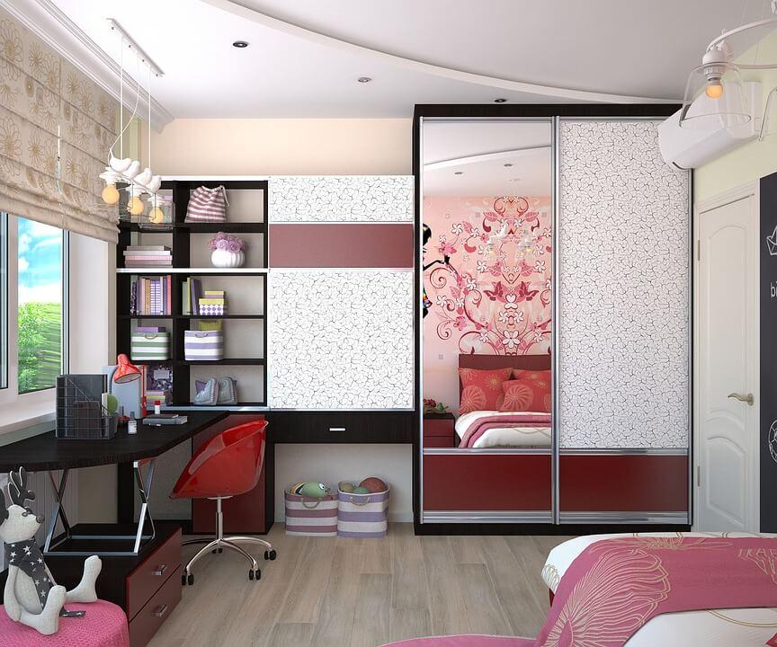 шкаф до потолка в спальне