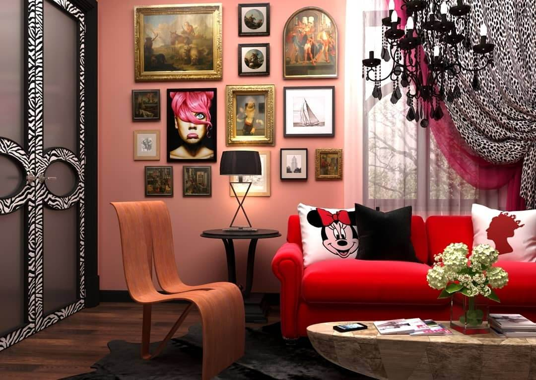 Эктсравагантный стиль китч в современной гостиной