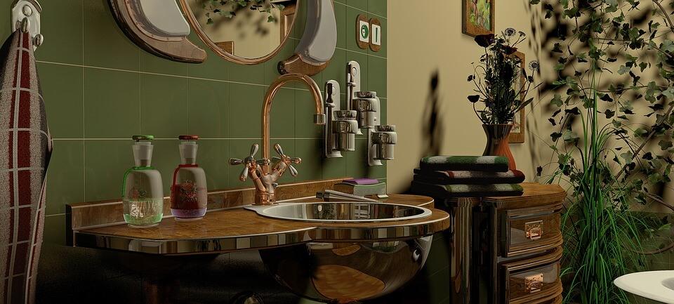 зеленые тона в ванной комнате