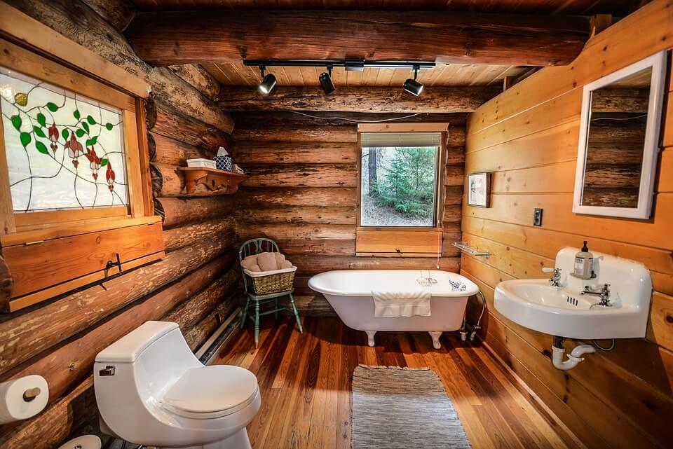 интерьер ванной в деревенском стиле