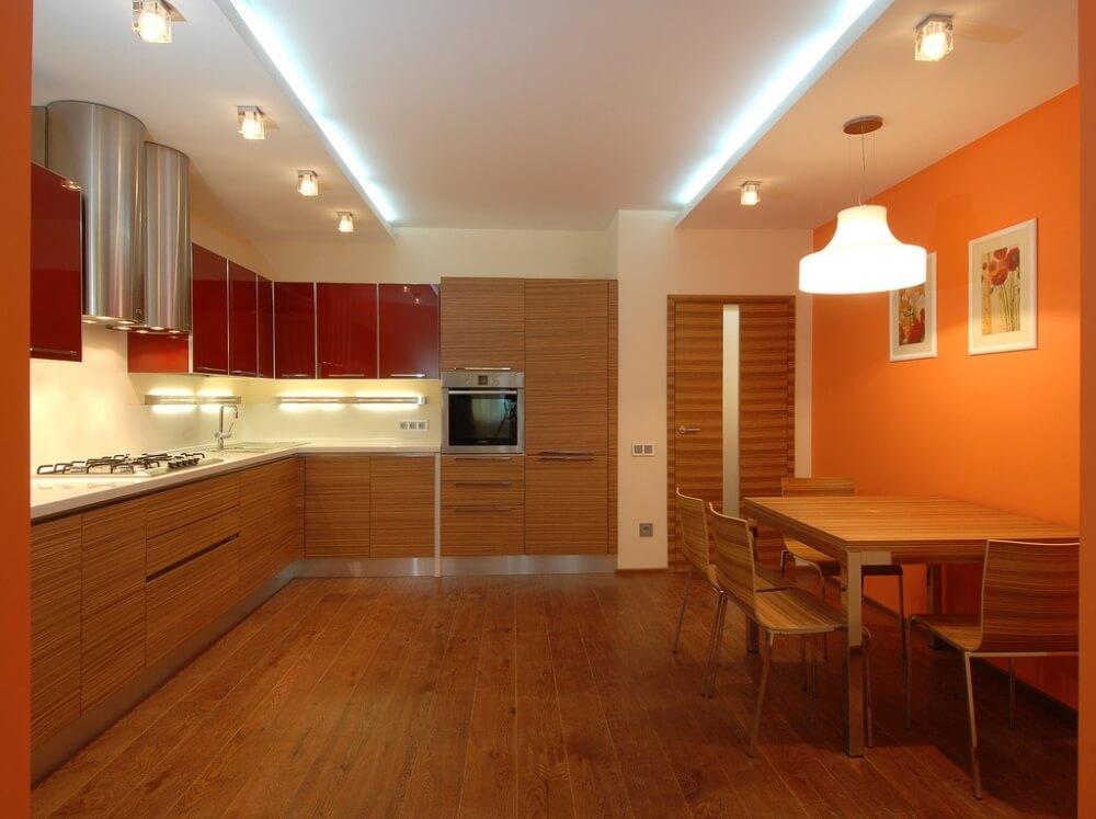 Согревающие акценты кухни в оранжевых тонах