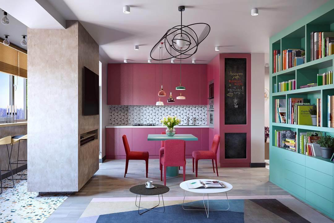 яркая кухня с розовыми тонами