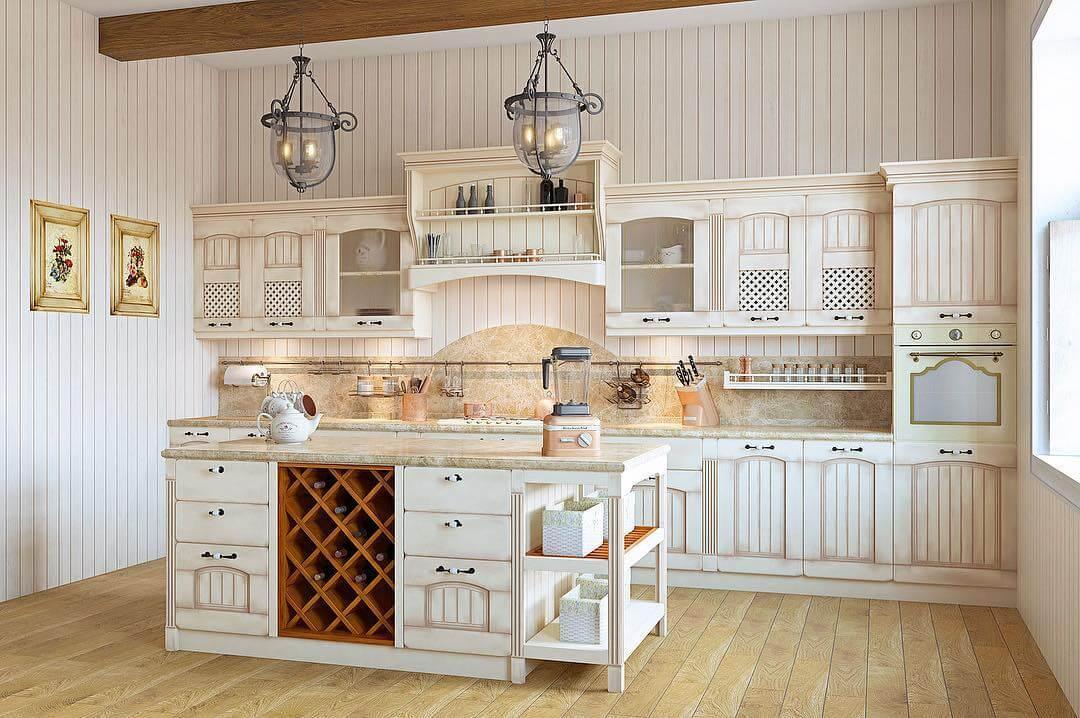 Кухня в стиле прованс с натуральным деревом
