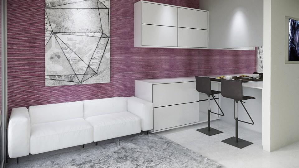 Меблировка кухни-гостиной в стиле минимализм