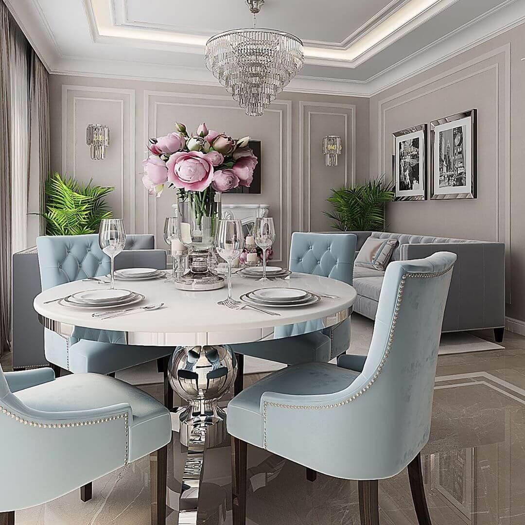 Классический интерьер гостиной-столовой