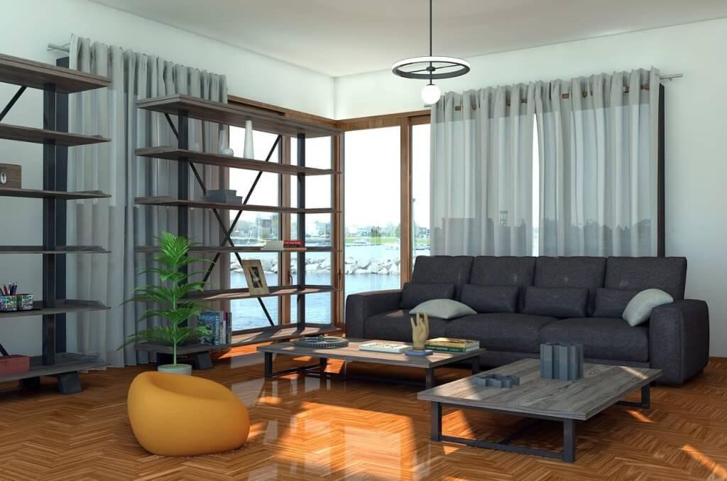 панорамное окно в современной госиной