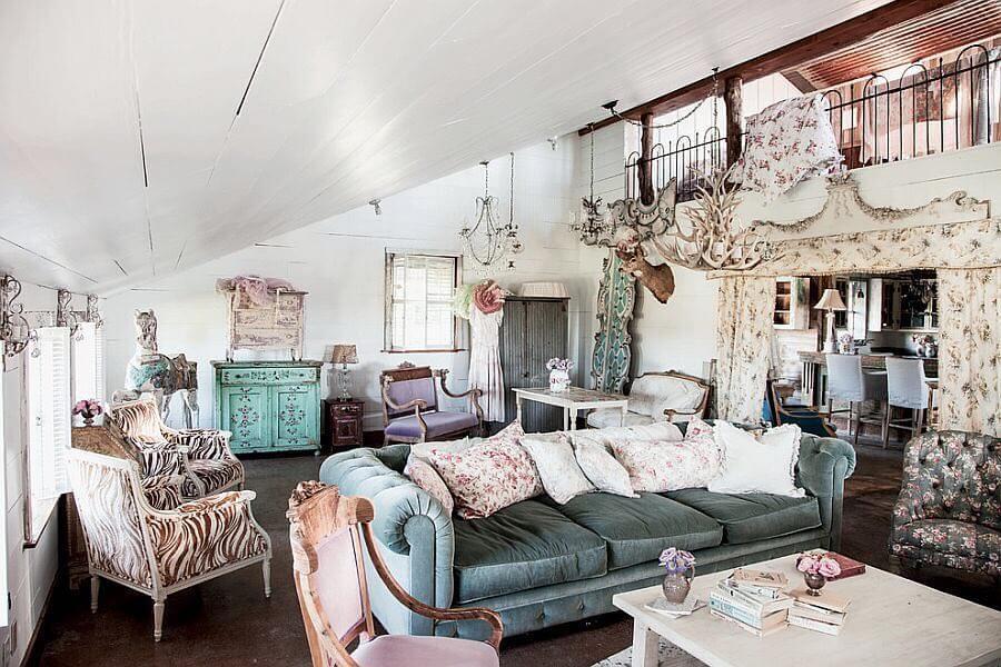 Роскошный дизайн комнаты в стиле шебби-шик