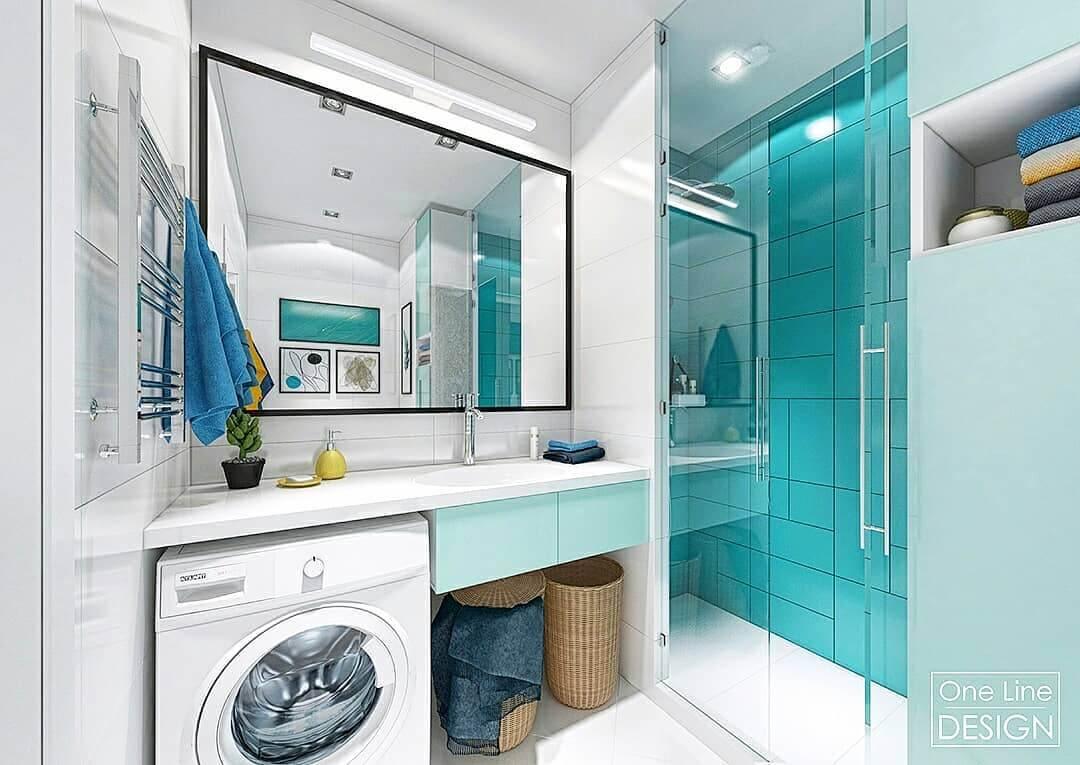 современная ванная комната в бирюзовых тонах